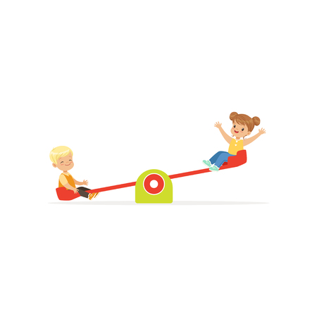 Flat vector illustration of toddler boy and girl having fun on rocking seesaw. Kids playing outdoor game together on kindergarten playground Vectores