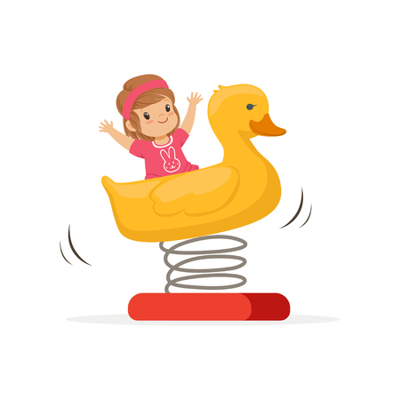 Cheerful toddler girl having fun on yellow plastic rocking duck on spring. Outdoor play equipment. Isolated flat vector Illustration