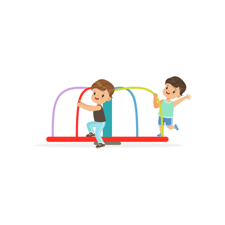 Two preschool boys playing on rotating roundabout carousel at playground. Cartoon flat vector illustration