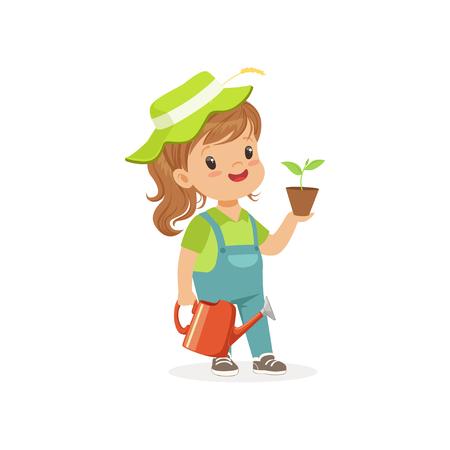 Niña sonriente que se coloca con la planta y la regadera en manos. Carácter de niño plano vestido como jardinero Concepto de profesión ideal