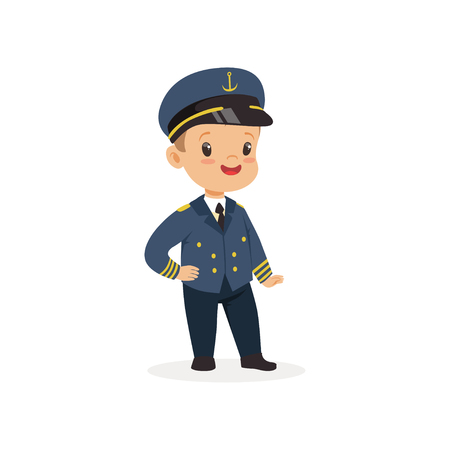 Cartoon little boy dreaming to become ship s captain in future. Kid dressed up for career day in kindergarten
