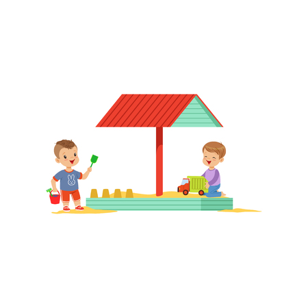 Cartoon kids characters playing in wooden sandbox with cover-shed. Boy playing with toy truck car, other child making sand castle