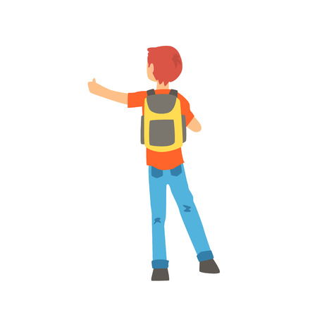 Young male hitchhiker traveling with backpack, man trying to stop a car on a highway by hand, back view, travelling by autostop cartoon vector Illustration Illustration
