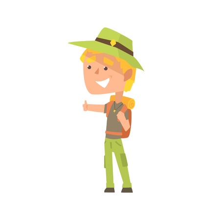 Cartoon male traveler hitchhiker with hat and backpack, man trying to stop a car on a highway by hand, travelling by autostop vector Illustration