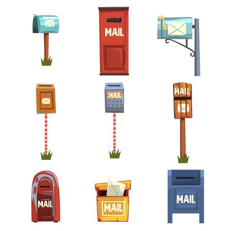 Geplaatste brievenbussen, uitstekende die postbusbeeldverhaal vectorillustraties op een witte achtergrond worden geïsoleerd