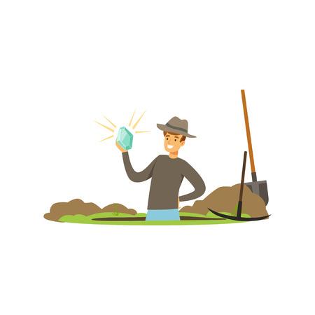 Feliz buscador del tesoro rodilla profunda en el pozo con piedras preciosas en la mano. Herramientas para cavar Afortunado. Personaje de dibujos animados que quiere hacerse rico. Ilustración de vector aislado sobre fondo blanco.