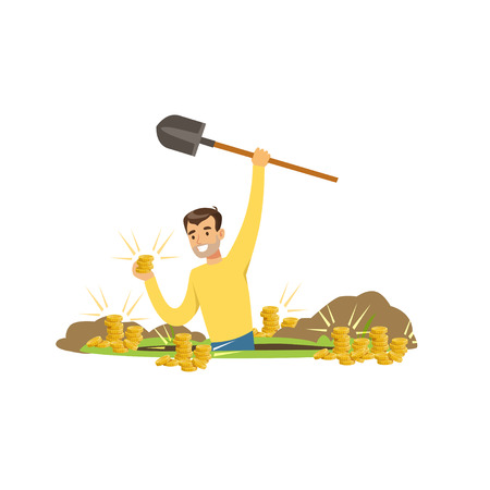 Cheerful treasure hunter found gold coins in the ground. Treasure seeker standing in a pit with shovel in hand. Cartoon man character who wanted to get rich. Vector illustration isolated on white. Vettoriali
