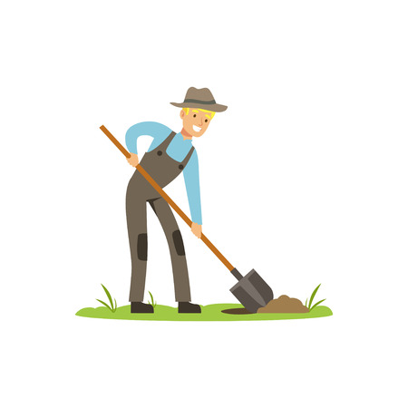 Treasure seeker with shovel in search for buried treasure