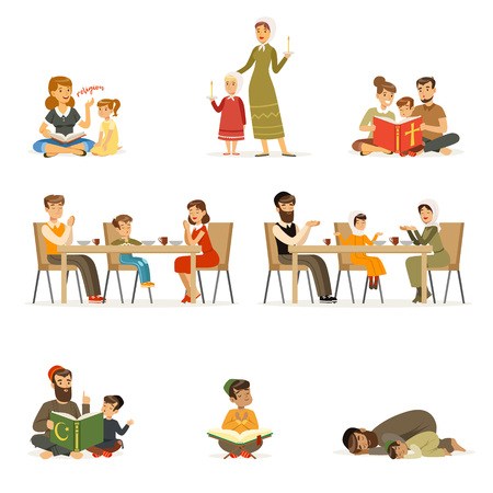 Menschen Zeichen verschiedener Religionen festgelegt. Juden, Katholiken, Muslime religiöse Aktivitäten. Flache Cartoon-Vektor Vektorgrafik