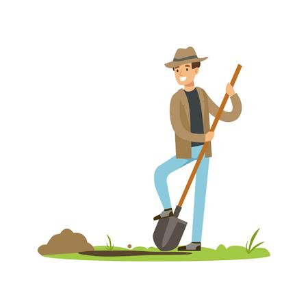 Poszukiwacz skarbów z łopatą w poszukiwaniu zakopanego skarbu