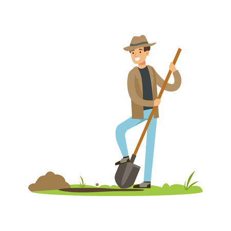 Schatzoeker met schop op zoek naar begraven schat