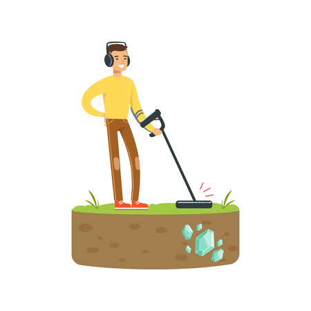 Treasure seeker with metal detector looking for precious stones Illustration