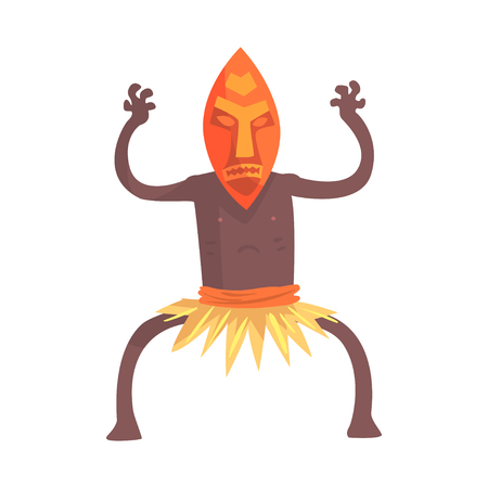 Black skinned man aborigine in tribal mask stands with hands up Illustration