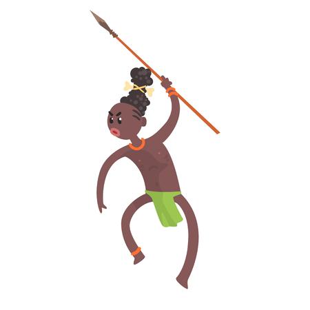 Agressieve zwarte huid Aboriginal krijger met wapen