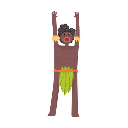 Scared black skinned man aborigine stands with hands up Illustration