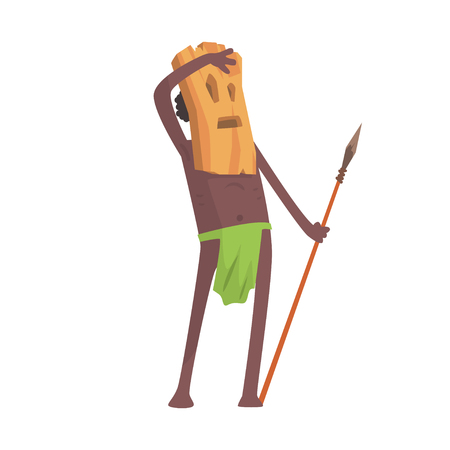 Black skinned man aborigine warrior with weapon and wooden mask Illustration