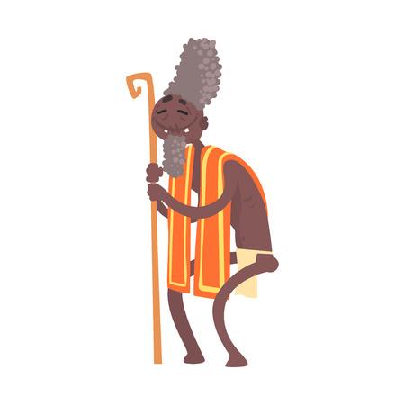 Black skinned toothless elder man aborigine