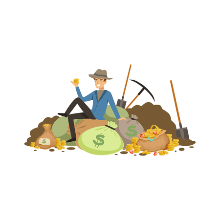 Treasure seeker sit on pile of tearsure
