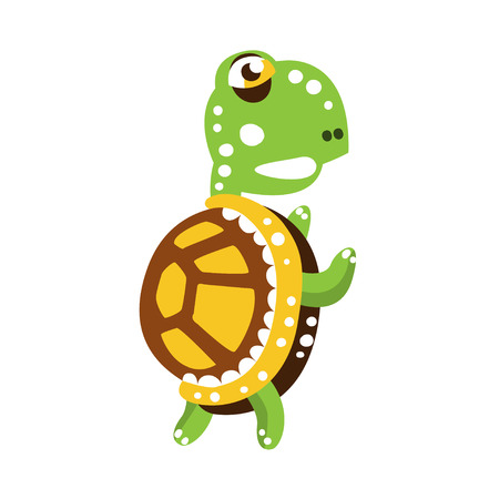 Scary green turtle standing with flippers up Illustration