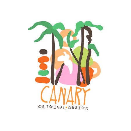 Exotic summer travel to Canary Illusztráció
