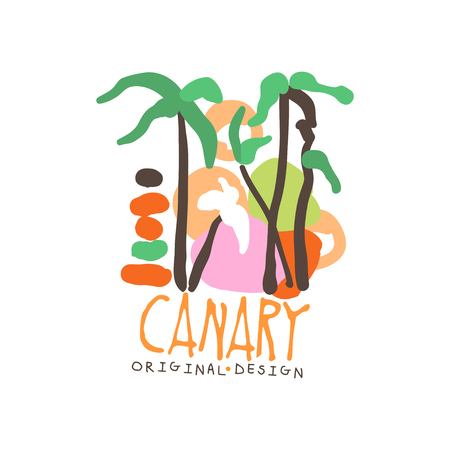Exotic summer travel to Canary Illustration