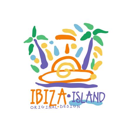 Exotische zomervakantie kleurrijk met het eiland Ibiza Stock Illustratie