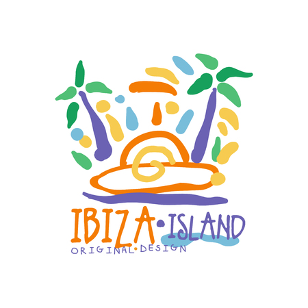 Exotic summer vacation colorful with Ibiza island