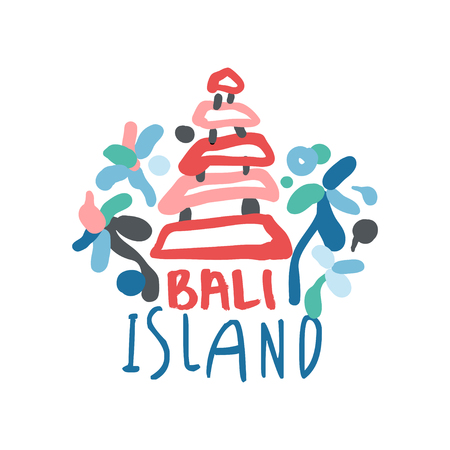 Bali island summer vacation colorful travel Illustration