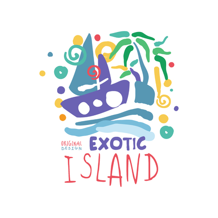Exotic summer vacation colorful Illustration