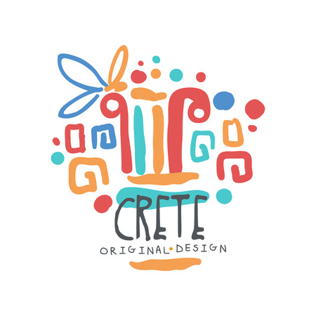 Abstract Crete exotic vacation illustration for travel Imagens - 90578808