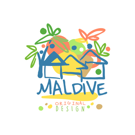 Exotic island summer vacation Maldive travel Illustration