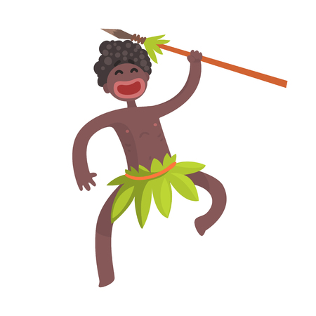 Funny black skinned aboriginal warrior with weapon  イラスト・ベクター素材