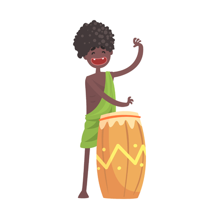 黒皮男土人民族ドラムの演奏