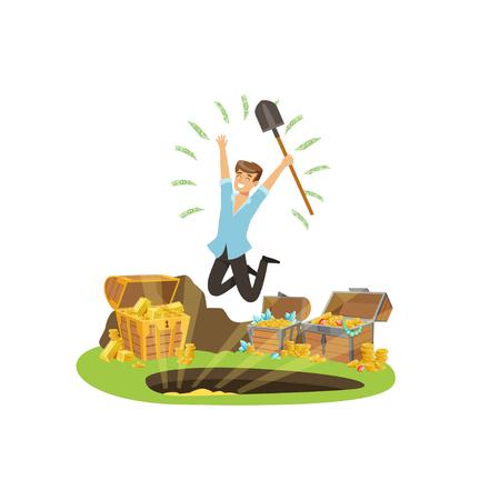 Treasure seeker jumping with joy Stock Vector - 90371672