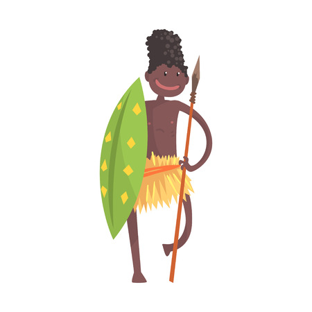 Black skinned man aborigine warrior with spear and shield 일러스트