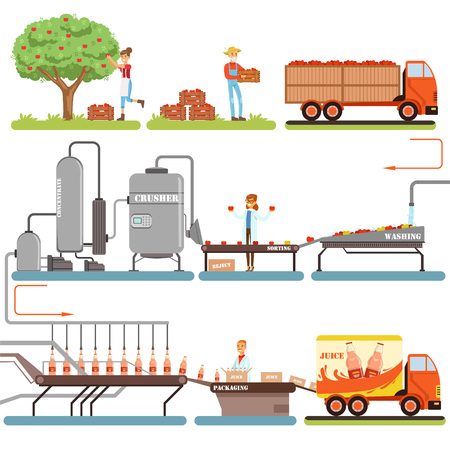 Juice production process stages, factory producing apple juice from fresh apple vector Illustrations