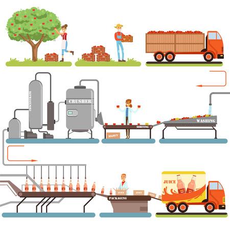 Estágios de processo de produção de suco, fábrica de produção de suco de maçã do vetor de maçã fresca Ilustrações Ilustración de vector