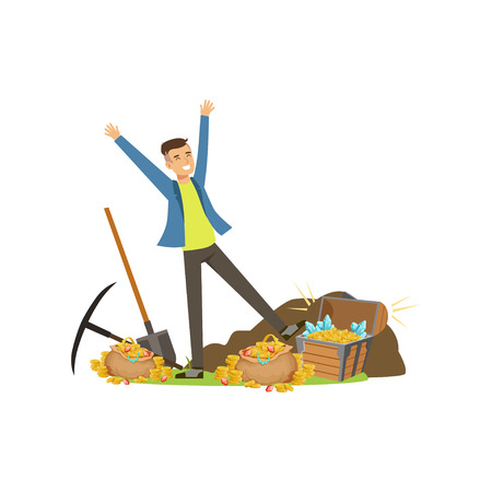 Happy man near pile of treasures Stock Vector - 90371677