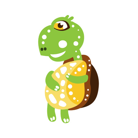 Cute dancing green turtle character, side view
