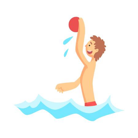 바다에서 해변 공 놀고 명랑 소년 일러스트