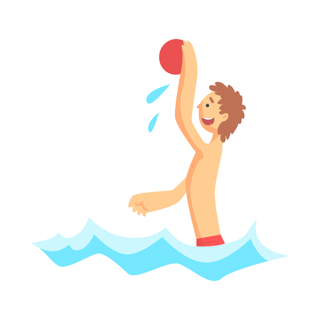 Cheerful boy playing with beach ball in the sea