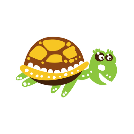 Smiling green turtle swimming isolated on white. Spotted shell colored in brown, yellow. Marine animal of mediterranean sea. Cartoon reptile character side view. Kids drawing flat vector illustration. Ilustração