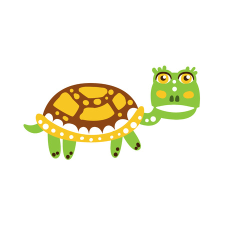 Cute green turtle character walking
