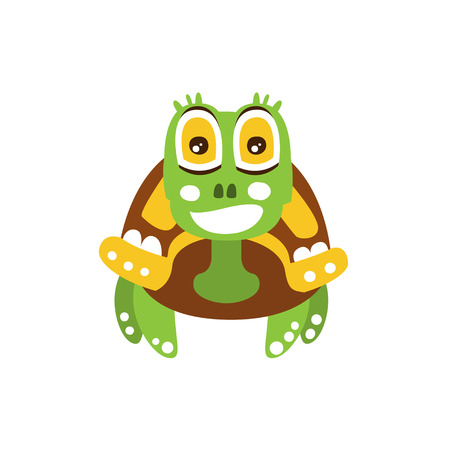 Happy green turtle with big shiny eyes, front view Illustration