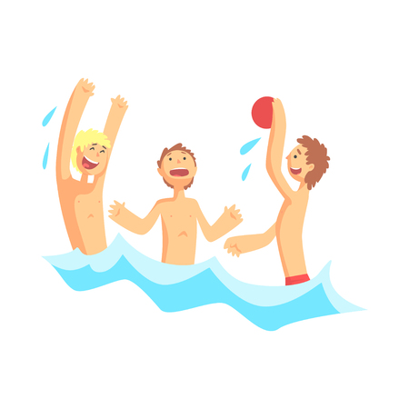 Teenagers boys playing with ball in the sea Illustration
