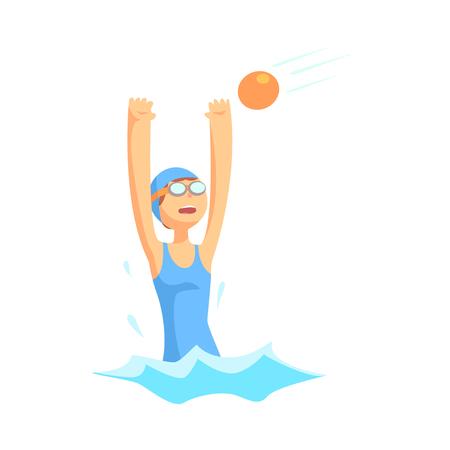 水球で遊ぶ水着とゴーグルの女の子キャラクター  イラスト・ベクター素材