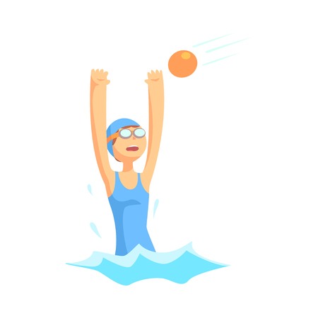 Girl character in swimsuit and goggles playing in water polo