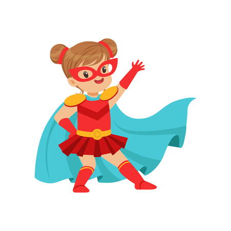 Comic brave kid in superhero red costume with mask on face and developing in the wind blue cloak, posing and waving her hand. Girl with extraordinary powers. Vector cartoon flat super child character. Imagens - 90403881