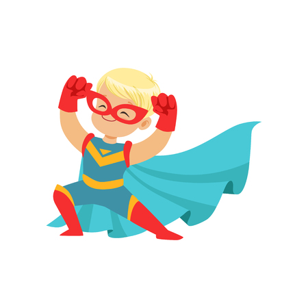 Comic happy kid in superhero costume, red mask and gloves, blue cape developing in the wind, posing and showing muscles. Child with extraordinary magical power. Vector cartoon flat super boy character