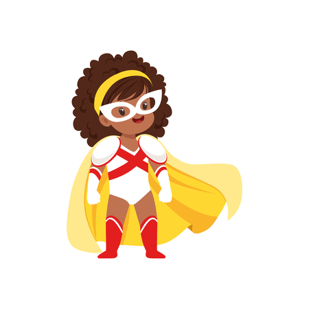 Comic brave kid with curly hair in superhero white and red costume, mask and yellow cloak, standing on legs wide apart. Child with extraordinary abilities. Vector cartoon flat super girl character. 向量圖像